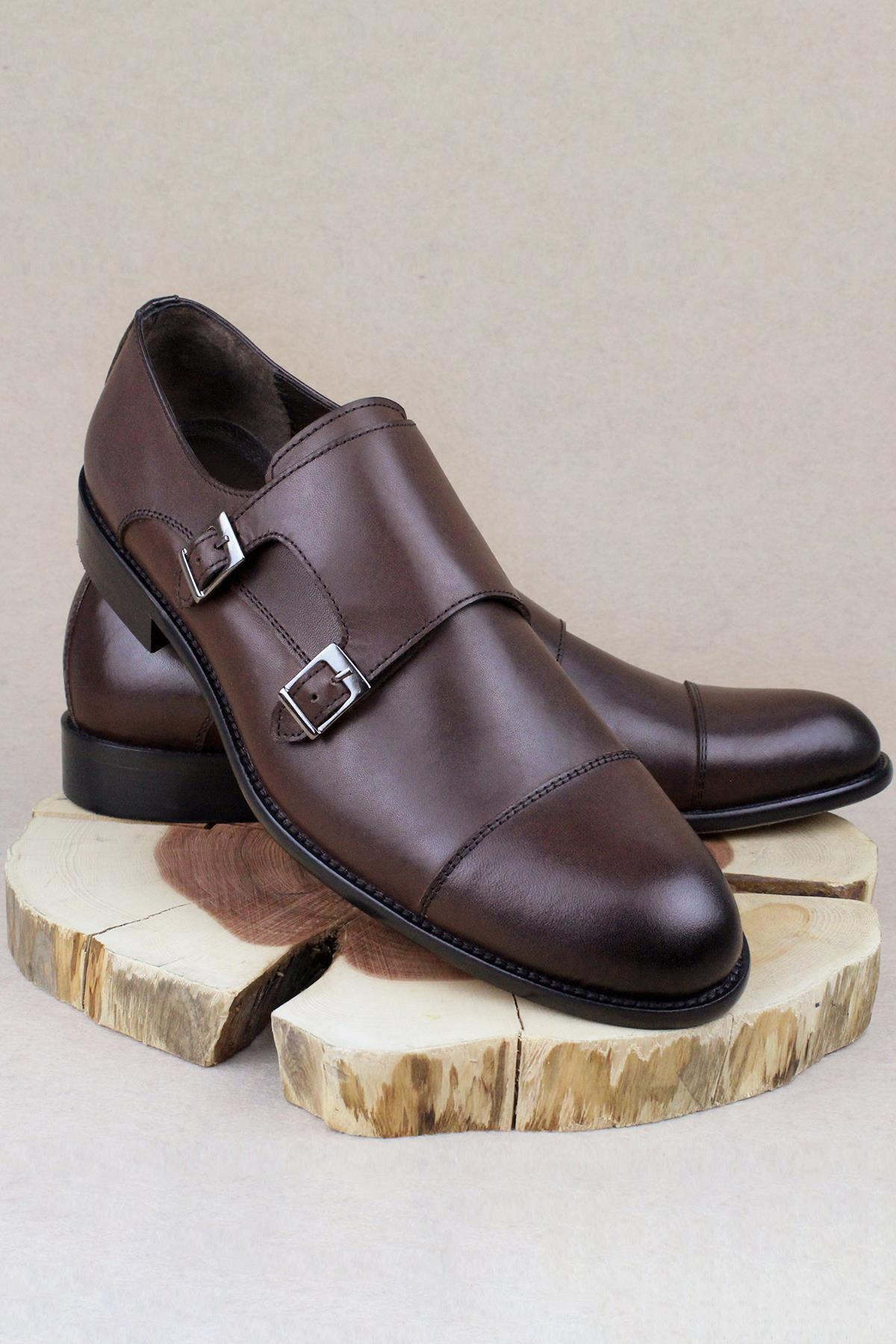Buyuksun Hakiki Deri Çift Tokalı Klasik Ayakkabı Neolit Büyük Numara 36.123.09