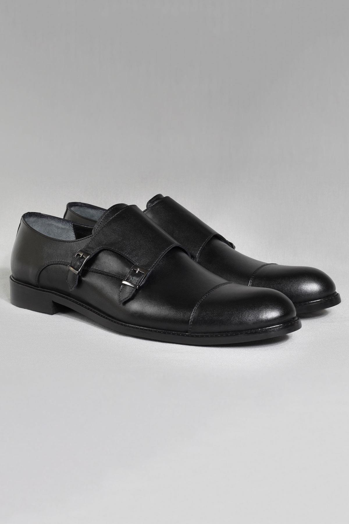 Buyuksun Hakiki Deri Çift Tokalı Klasik Ayakkabı Neolit Büyük Numara 36.123.17