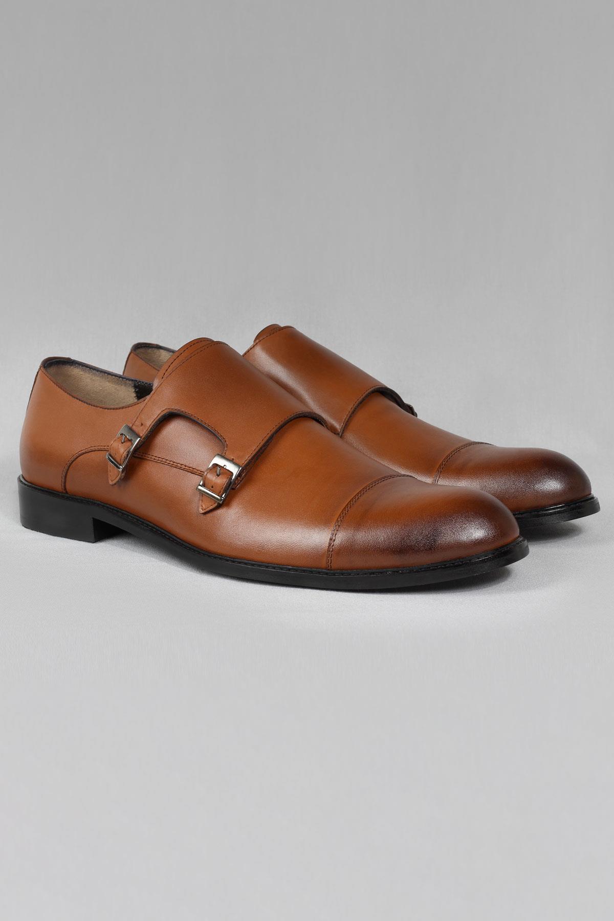 Buyuksun Hakiki Deri Çift Tokalı Klasik Ayakkabı Neolit Büyük Numara 36.123.19