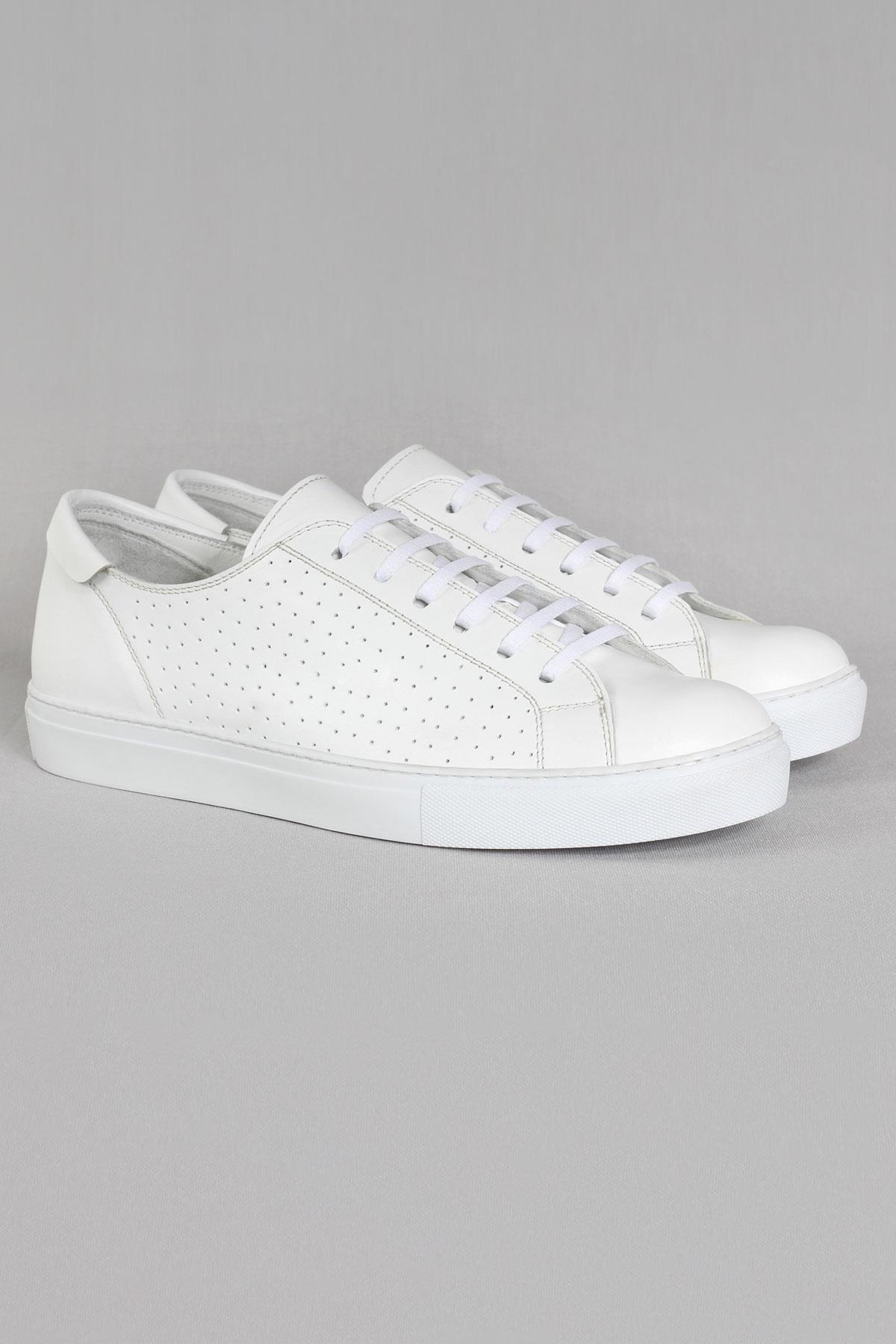 Buyuksun Hakiki Deri Erkek Spor Ayakkabı Delikli Sneakers Büyük Numara 36.214.03